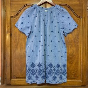 Gymboree Chambray Embroidered Boho Lined Dress